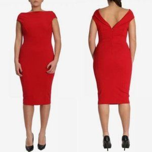 Marina Rinaldi Dress Fitted Red V-back Knee Length
